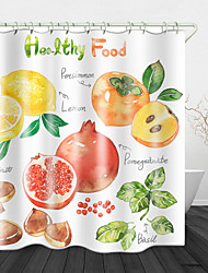 cheap -Fruit Literacy Background Digital Print Waterproof Fabric Shower Curtain for Bathroom Home Decor Covered Bathtub Curtains Liner Includes with Hooks