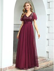 cheap -A-Line Empire Elegant Wedding Guest Formal Evening Dress V Neck Short Sleeve Floor Length Tulle with Sequin 2021