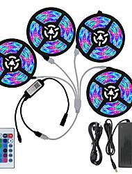 Недорогие -KWB Bluetooth Smart светодиодные полосы света комплект водонепроницаемый фонари Tiktok 3528 RGB 20 м 4 * 5 м 1200 светодиодов телефон управляемый таймер светодиодные ленты работает свет