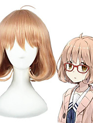 cheap -Cosplay Wig Kuriyama Mirai Curly Cosplay Asymmetrical With Bangs Wig Short Brown Synthetic Hair 14 inch Women's Anime Cosplay Women Brown