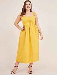 cheap -Women's Plus Size Strap Dress Knee Length Dress - Sleeveless Solid Color Summer Casual 2020 Yellow XXXL XXXXL