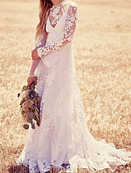 cheap -A-Line Wedding Dresses Jewel Neck Sweep / Brush Train Lace Long Sleeve Beach Illusion Sleeve with Sashes / Ribbons Appliques 2021