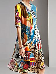 cheap -Women's Shift Dress Knee Length Dress - Half Sleeve Print Print Spring Summer Casual Vacation 2020 Blue M L XL XXL XXXL