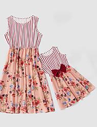 billiga -Mamma och jag Vintage Ljuv Randig Blommig Färgblock Rosett Tryck Ärmlös Midi Klänning Rubinrött