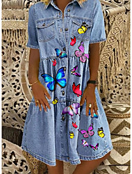 cheap -Women's Denim Shirt Dress Butterfly Knee Length Dress - Short Sleeve Animal Pocket Print Button Front Summer Shirt Collar Casual 2020 Blue M L XL XXL XXXL