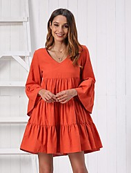 cheap -Women's Swing Dress Short Mini Dress - Long Sleeve Solid Color Ruffle Ruched Summer Elegant Holiday Going out 2020 Red Orange S M L XL