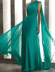 cheap -Sheath / Column Elegant Minimalist Engagement Formal Evening Dress One Shoulder Sleeveless Floor Length Chiffon with Bow(s) Pleats 2020