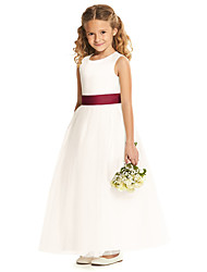 cheap -A-Line Floor Length Wedding / Party Flower Girl Dresses - Tulle Sleeveless Jewel Neck with Pleats / Solid