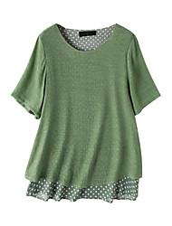 cheap -Women's Polka Dot Blouse Daily Fuchsia / Green