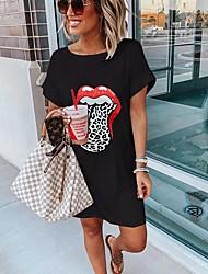cheap -Women's Shift Dress Knee Length Dress - Short Sleeves Print Summer Casual 2020 White Black Purple Blushing Pink Gray S M L XL XXL XXXL