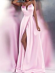 cheap -A-Line Beautiful Back Sexy Engagement Formal Evening Dress Spaghetti Strap Sleeveless Floor Length Satin with Sleek Split 2020