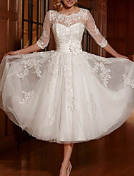 cheap -A-Line Wedding Dresses Jewel Neck Ankle Length Lace Tulle 3/4 Length Sleeve Vintage 1950s with Appliques 2020