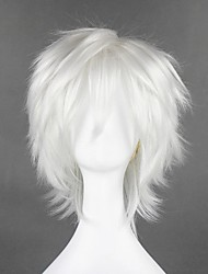 cheap -Cosplay Wig Byakuran Gesso Hitman Reborn Curly Cosplay Halloween With Bangs Wig Short Silver Synthetic Hair 12 inch Men's Anime Cosplay Party Silver