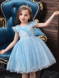 cheap -Princess / Ball Gown Knee Length Wedding / Party Flower Girl Dresses - Tulle Cap Sleeve Jewel Neck with Bow(s) / Embroidery
