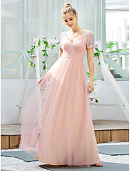 cheap -A-Line V Neck Floor Length Tulle / Sequined Bridesmaid Dress with Sequin
