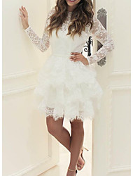cheap -Ball Gown Wedding Dresses Jewel Neck Short / Mini Lace Tulle Long Sleeve Casual Little White Dress See-Through with Cascading Ruffles 2021