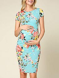 cheap -Women's Sheath Dress Short Mini Dress - Short Sleeves Floral Summer Sexy 2020 Wine Blushing Pink Navy Blue Light Blue S M L XL