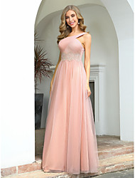 cheap -A-Line One Shoulder / Cross Front Floor Length Tulle Bridesmaid Dress with Appliques / Ruching