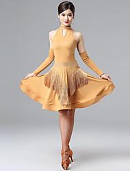 cheap -Latin Salsa Dance Dress Tassel Crystals / Rhinestones Women's Training Performance Sleeveless Natural Milk Fiber Polyester Dancewear Stage Wear Girls
