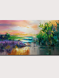 cheap -Mintura Hand Painted Knife Landscape Oil Paintings on Canvas Wall Picture Modern Abstract Art Posters For Home Decoration Ready To Hang With Stretched Frame
