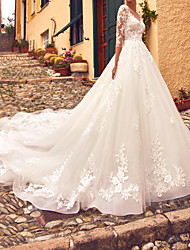 cheap -A-Line Wedding Dresses Jewel Neck Sweep / Brush Train Lace Tulle 3/4 Length Sleeve Formal Sexy Illusion Sleeve with Appliques 2020