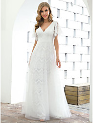 cheap -A-Line Wedding Dresses Plunging Neck Floor Length Lace Tulle Short Sleeve Country Casual Elegant with Lace 2021
