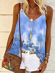 cheap -Women's Tops Floral Blouse V Neck Daily Summer Blue Yellow Blushing Pink Green S M L XL 2XL 3XL