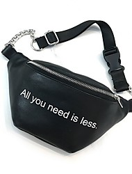 cheap -Women's Bags PU Leather Fanny Pack Zipper Letter 2020 Daily White Black