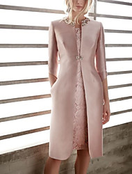 cheap -Two Piece Sheath / Column Mother of the Bride Dress Elegant Jewel Neck Knee Length Satin 3/4 Length Sleeve with Beading Appliques 2021