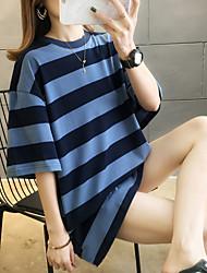 voordelige -Dames Tops Gestreept T-shirt Ronde hals Dagelijks blauw Geel Klaver M L XL 2XL