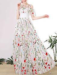 cheap -A-Line Floral Boho Engagement Prom Dress Jewel Neck Half Sleeve Floor Length Tulle with Appliques 2021