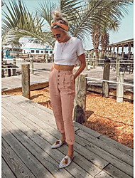 cheap -Women's Basic Loose Chinos Pants - Solid Colored High Waist Black Blushing Pink Dusty Blue S / M / L