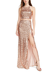 cheap -Two Piece Sexy Sparkle Party Wear Prom Dress Halter Neck Sleeveless Floor Length Sequined with Split 2020