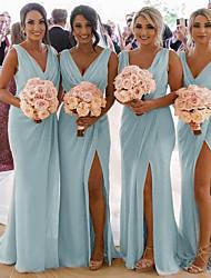 cheap -Mermaid / Trumpet V Neck Sweep / Brush Train Chiffon Bridesmaid Dress with Pleats / Ruching
