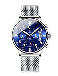 cheap -Men's Mechanical Watch Quartz Minimalist Water Resistant / Waterproof Analog Black / Silver Silver+Blue / Stainless Steel