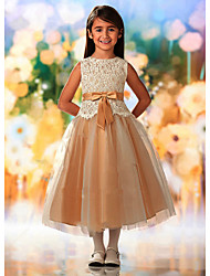 cheap -A-Line Ankle Length Wedding / Party Flower Girl Dresses - Lace / Tulle Sleeveless Jewel Neck with Sash / Ribbon / Appliques