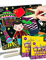 cheap -Drawing Toy Scratch Art Set Magic Scratch Paper Cartoon City Pure Paper Painting Creative Kid's Boys and Girls for Birthday Gifts or Party Favors