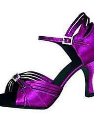 cheap -Women's Latin Shoes PU Heel Cuban Heel Dance Shoes Orange / Dark Purple / Brown
