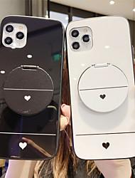 Недорогие -держатель зеркала из закаленного стекла чехол для телефона в форме сердца для яблока чехол для iphone 11 pro max x xr xs max 8 плюс 7 плюс 6 плюс se (2020) кривая задняя крышка