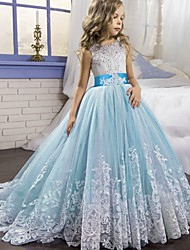 cheap -Princess / Ball Gown Court Train Party / Wedding Flower Girl Dresses - Tulle Sleeveless Jewel Neck with Bow(s) / Beading / Appliques