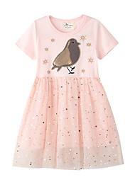 cheap -Kids Little Girls' Dress Cartoon Blushing Pink Dresses