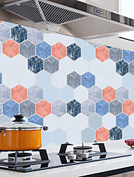 cheap -100*45cm Kitchen Bathroom Oilproof Water Proof Removable Wall Stickers Aluminum foil Art Decor Home Decal Hexagonal Bricks Oil Stickers Wall Stickers