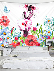 cheap -Painted Flower Fairy Back Digital Printed Tapestry Decor Wall Art Tablecloths Bedspread Picnic Blanket Beach Throw Tapestries Colorful Bedroom Hall Dorm Living Room Hanging