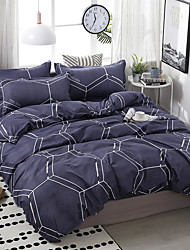 cheap -Duvet Cover Sets 4 Piece Polyester / Viscose Plaid / Checkered Blue Printed Simple