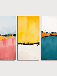 cheap -Hand Painted Canvas Oilpainting Abstract Set of 3 Home Decoration with Frame Painting Ready to Hang