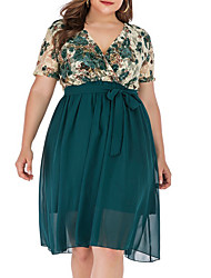 cheap -Women's A-Line Dress Knee Length Dress - Short Sleeves Floral Summer Work 2020 Green XL XXL XXXL XXXXL XXXXXL