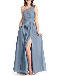 cheap -A-Line One Shoulder Floor Length Chiffon / Lace Bridesmaid Dress with Split Front