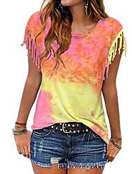 halpa -Naisten Solmuvärjätty T-paita Pyöreä kaula-aukko Päivittäin Kesä Uima-allas Purppura Oranssi Dusty Blue Vaalean vihreä S M L XL 2XL 3XL 4XL 5XL