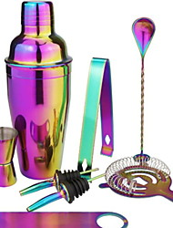 cheap -Insulated Cocktail Shaker Mixer Cocktail Bartender Colorful Plated Bartender Set Tool 8 Piece Bar Set Stainless Steel 550ml