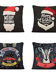 cheap -Set of 4 Linen Pillow Cover Animal Graphic Prints Christmas Throw Pillow